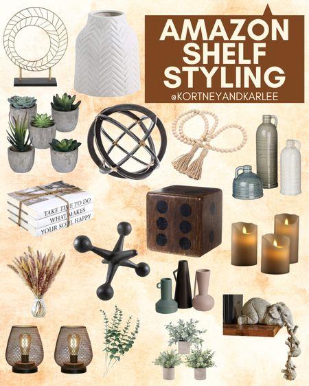 Amazon Shelf Styling!  Amazon shelf home decor | shelf decor from amazon | shelf decor | affordable shelf decor | amazon home favorites | amazon home | amazon home decor | amazon home edit | amazon home finds | Kortney and Karlee | #Kortneyandkarlee @liketoknow.it #liketkit  #LTKunder50 #LTKunder100 #LTKsalealert #LTKstyletip #LTKSeasonal #LTKhome