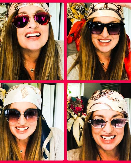 My daughter actually inspired this look! You get 4 large fabulous satin scarfs for around $15.00! Ok they are both glamorous and bohemian. They can hide dirty hair and root growth! They have a fun Gypsy/retro vibe! I ❤️ them. I also linked all my favorite sunnies for you too! . . . . .  http://liketk.it/3dqIc #LTKtravel #LTKstyletip #LTKunder50 #liketkit @liketoknow.it.family @liketoknow.it.home @liketoknow.it You can instantly shop my looks by following me on the LIKEtoKNOW.it shopping app