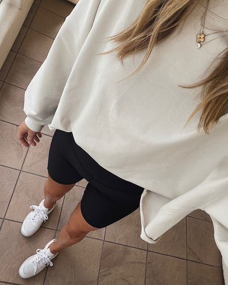 Recent athleisure look for a chilly morning. Sweatshirt is oversized and so comfy! Wearing XS/S. #falloutfit #weekendoutfit #lululemon  #LTKstyletip #LTKfit #LTKunder100