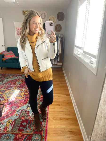 Fall Outfit Idea: a chunky sweater, skinny jeans, a faux leather jacket and boots! My turtleneck sweater is an amazon find, jeans are on sale, white leather jacket is under $100!  #LTKsalealert #LTKshoecrush #LTKstyletip