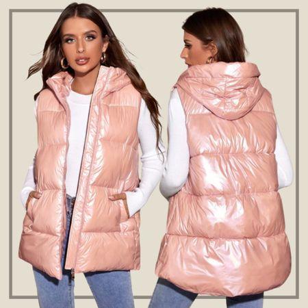 Metallic hooded puffer vest  #LTKunder50 #LTKstyletip