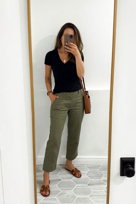 These pants are super comfy and only $21 (I'm wearing xs). Tee in small. Go up 1/2 in slides.    #LTKsalealert #LTKstyletip #LTKshoecrush
