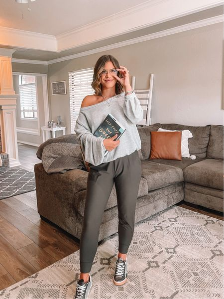 Love this off the shoulder sweatshirt from Revolve. Perfect with the most comfortable joggers ever that happen to be on sale for $25! Hurry and grab this casual look.   #LTKunder50 #LTKfit #LTKunder100