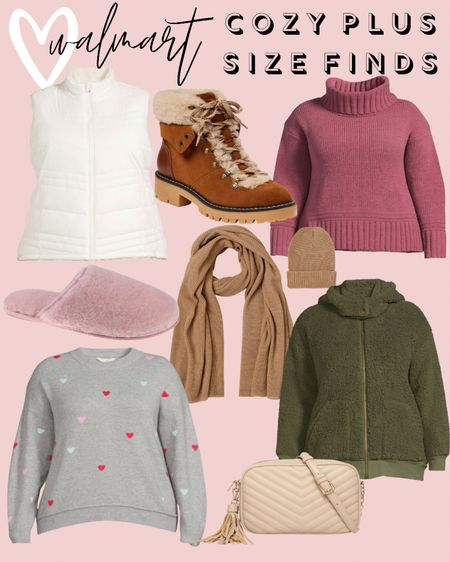 All these plus size fashion finds are so comfy and cozy! I found wide width hiker boots, a designer inspired crossbody bag, and adorable plus size sweaters. These would be affordable holiday gifts for the plus size gal in your life!   #LTKcurves #LTKunder50 #LTKHoliday