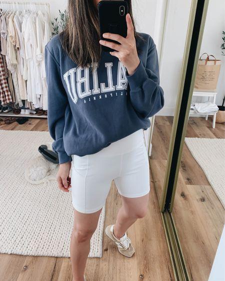 Graphic sweatshirts. Biker shorts. Affordable graphic sweatshirt.   Sweatshirt - A&F xs Shorts - Amazon small Sneakers - New Balance 6  http://liketk.it/3hRB2 #liketkit @liketoknow.it #LTKunder100 #LTKshoecrush
