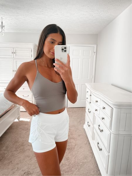 Workout top and activewear from Amazon fashion, wearing medium in both crop top and running shorts   #LTKunder50 #LTKfit