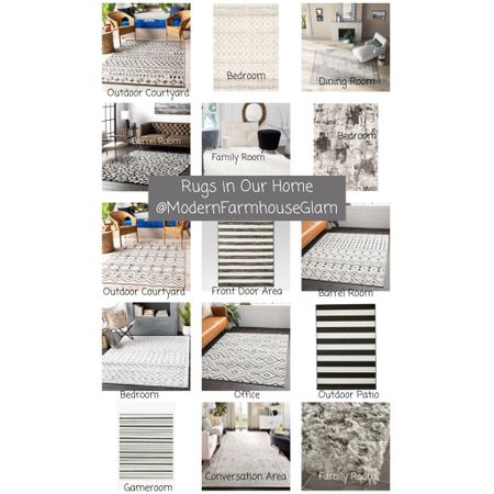 Rugs in our home at modern farmhouse glam. Outdoor rug, throw rug, area rug, neutral area rug, black and white rug, dining room rug, living room rug, family room rug, bedroom rug, office rug  #LTKSeasonal #LTKHoliday #LTKhome