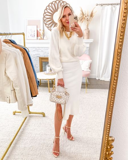 Featuring this versatile ribbed white dress in today's Friday Five, with this cozy white sweater. http://liketk.it/2Vpu5 #liketkit @liketoknow.it #LTKstyletip #LTKunder100 #LTKsalealert