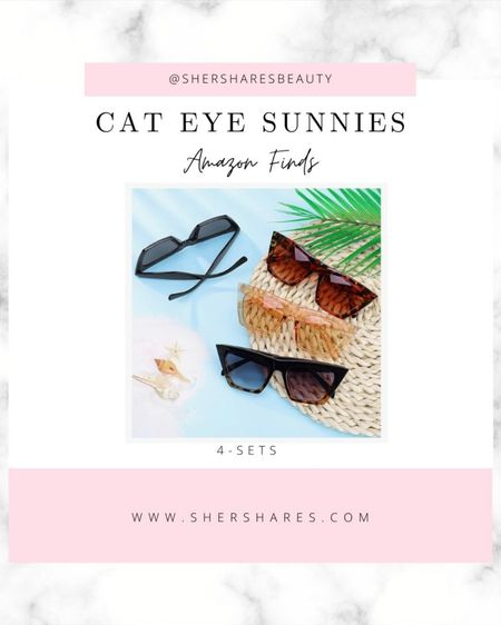 Cute Cat-Eye sunnies! 4 sets of cat eye sunglasses all available on Amazon!   http://liketk.it/3jMir #liketkit @liketoknow.it #LTKstyletip #LTKswim @liketoknow.it.home Shop your screenshot of this pic with the LIKEtoKNOW.it shopping app