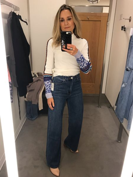 Nordstrom fall try on! Free people top, long wide leg jeans under $50!  Straight leg jeans, high waisted jeans, casual outfit, school outfit, denim trends  #LTKstyletip #LTKunder100 #LTKunder50