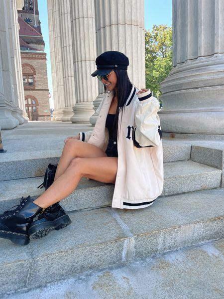 Fall outfit #fall #outfit #docmartens #varsityjacket   #LTKunder50 #LTKSeasonal #LTKfit