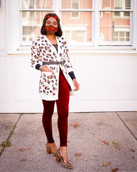 This Spanx suede leggings is a must have. Love the combo with leopard print amazon sweater and comfy stacked heel pumps. Use code LOUISA10 to save 10% off your Spanx order. Exact items tagged for you including my matching headband and mask. Runs TTS.   #LTKunder100 #LTKstyletip #LTKshoecrush