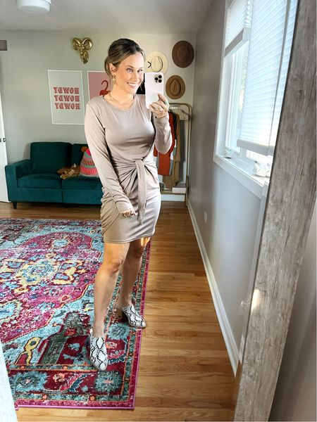 fall outfits ideas: this dress is such a cute amazon find! its so soft and flattering! also linked my snakeskin mules.  #LTKunder50 #LTKSale #LTKshoecrush