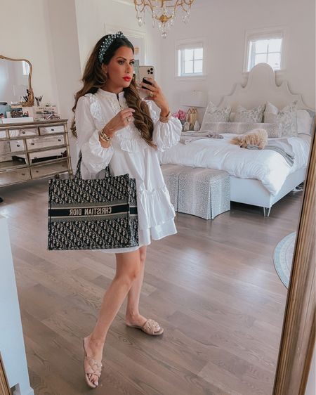 Emily Ann Gemma, 4th of July Outfit, Patriotic Outfit, Casual Summer Outfit 2021, Nude Sandals, Blue Headband, White cotton dress, Shein, Shein finds , Dior Book Tote, What to wear summer 2021,  @liketoknow.it #liketkit http://liketk.it/3iqPS