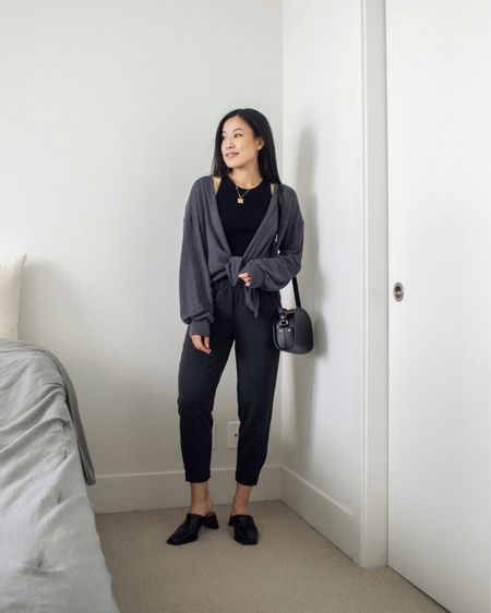 """Going with """"dark cool colours"""" as the theme today. Love how this cardigan drapes and provides a relaxed feel.   #LTKunder50 #LTKstyletip #LTKSeasonal"""