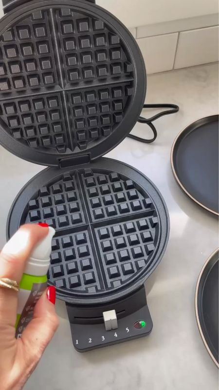 E A T S \ Whipping up my gluten free waffles with Ford this morning thanks to @walmart #ad Loving my new waffle maker (only $29!), mixing bowls and black stonewear plates!! It's my one stop shop to find premium kitchen items👩🏻🍳  Watch me make the most delicious breakfast that's easy AND healthy! Ford legit downed it😋 Head over to the LTK app to shop what I used in this vid. Linking this recipes on stories🙋🏻♀️  #wlamart #walmarthome  #LTKhome #LTKunder50