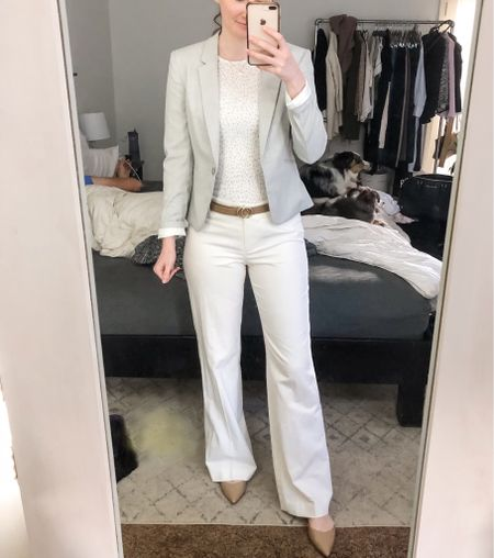 Business casual, work wear, real estate agent outfit, realtor outfit, white linen pants, light grey blazer, tan pointed flats  #LTKworkwear