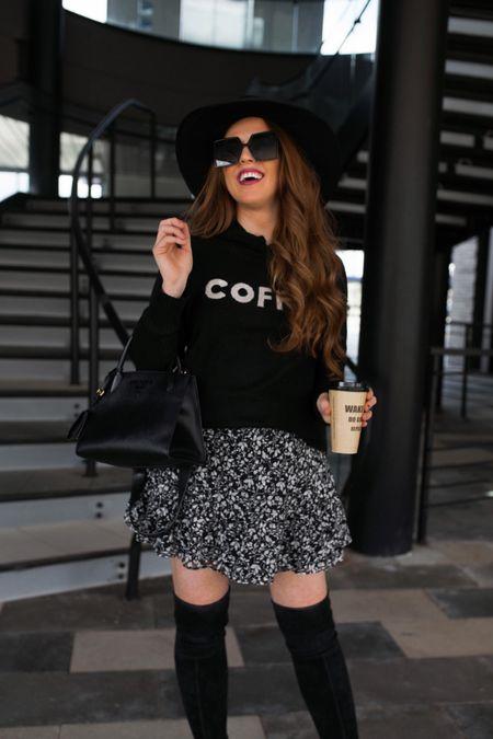 coffee sweater and floral skirt on sale ❤️  #LTKunder50 #LTKsalealert