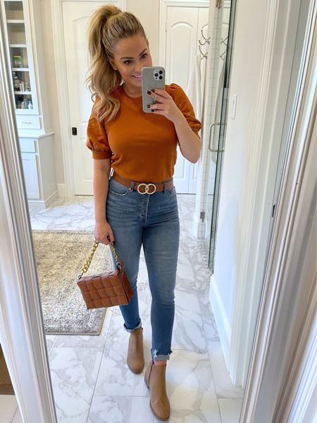 Walmart fashion, free assembly puff sleeve top, Scoop jeans, Time and Tru booties, my Texas house, casual outfit, fall outfit   #LTKunder50 #LTKshoecrush #LTKSeasonal