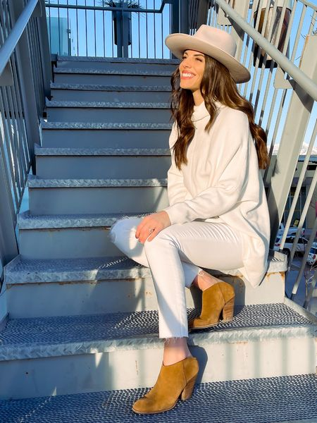 Spring Outfit | white Jeans | madewell | Gigi Pip Hat | wide brim hat | Amazon Fashion | Dolce Vita| Booties | mules | slides | Target Finds #LTKwomens  Shop my daily looks by following me on the LIKEtoKNOW.it shopping app.