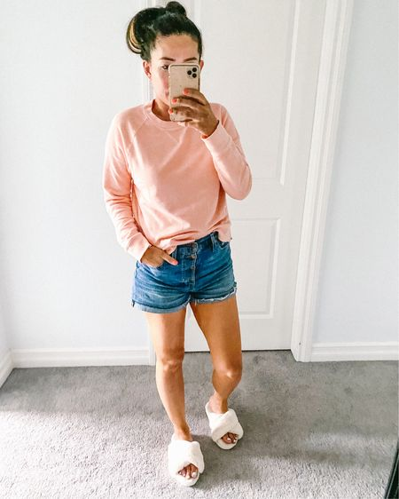 Every day at home summer uniform. New sweatshirt from #targetstyle wearing size small, button madewell denim shorts, and comfiest fuzzy slippers from #amazonfashion http://liketk.it/2TBVa #liketkit @liketoknow.it #StayHomeWithLTK #LTKunder50 #LTKfamily
