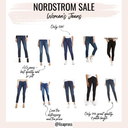 """#nsale jeans! Jeans are some of my favorites to purchase during the Nordstrom anniversary sale, because they are rarely on sale otherwise, last forever, and there are some great great deals. AG jeans and Wit & Wisdom are my go-tos - one is a splurge (and so worth it), and the other is super affordable and comes in petite sizes, which are a must for this 5'2"""" gal. http://liketk.it/3jQ9i #liketkit @liketoknow.it #LTKsalealert"""
