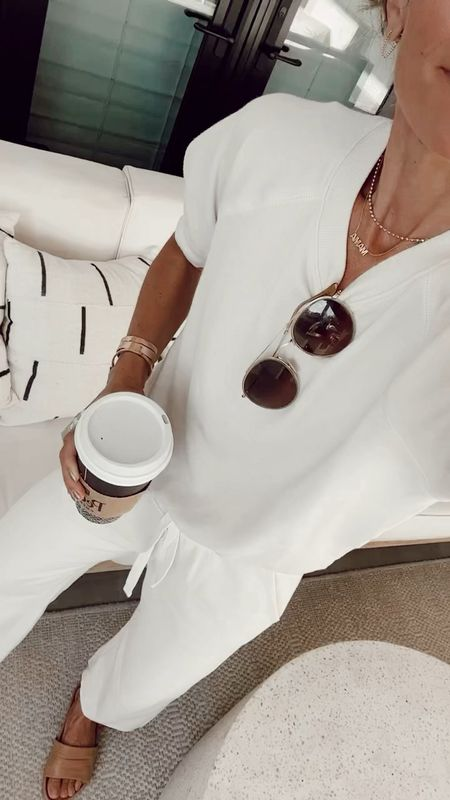 White short-sleeve sweatshirt  White wide legged lounge pants  Leather slides (SHANNON15 for 15% off)  For school drop off  Set is from Walmart free assembly; sustainably made, comes in several colors, runs true to size   #LTKstyletip #LTKunder50