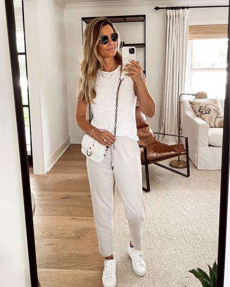 Major Sale—-Linen top SZ S Major Sale—-Flat front, straight leg, soft Joggers Sz S  Adidas white sneakers TTS White Crossbody bag  jewelry is a Miranda Frye CODE Her Fashioned Life   #LTKsalealert #LTKunder50 #LTKtravel