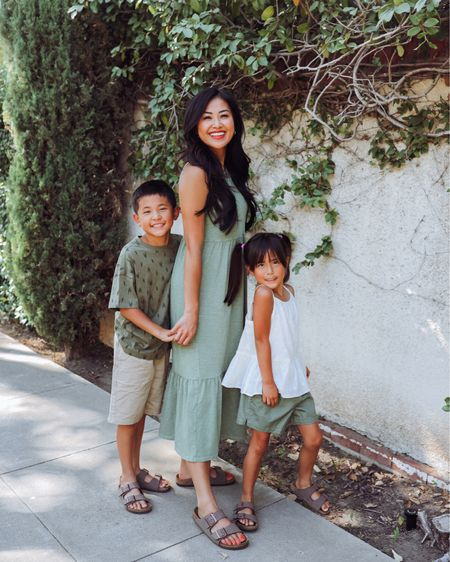 Olive green maxi dress and family outfits for summer   #LTKfamily #LTKunder100 #LTKkids