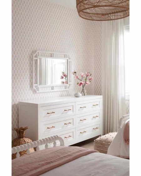 Girl bedroom, bed, bedding, pendant, wallpaper http://liketk.it/3bgnu #liketkit @liketoknow.it
