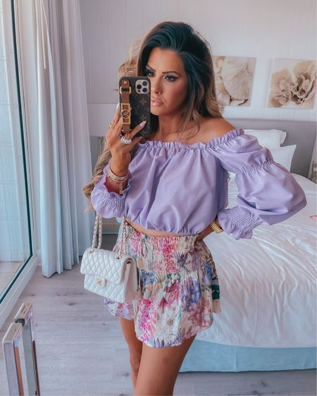 http://liketk.it/3gkLQ @liketoknow.it #liketkit vacation outfits, beach vacation, shorts, summer 2021, summer fashion, lavender, purple, Emily Ann Gemma, Chanel
