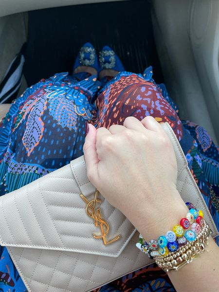 """All about the accessories  Dress linked, size medium. Bag is """"dark beige."""" Manolo's tts    #LTKshoecrush #LTKwedding #LTKunder100"""