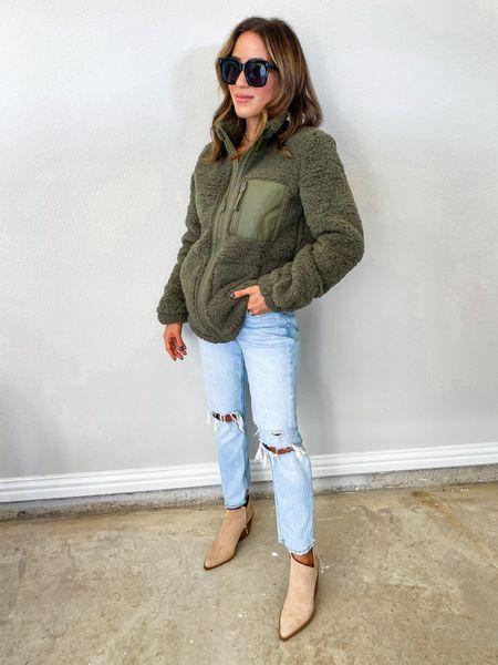 Fleece size Xs, jeans size 24 short   #LTKunder100 #LTKunder50 #LTKstyletip