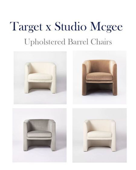 Target s Studio McGee Home decor upholstered barrel chairs.