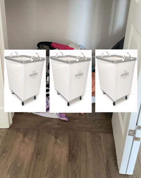 Making a plan to organize this closet & my laundry all at once. I love these cool neutral hampers on wheels. Hoping they also help keep the laundry sorted so I can roll them straight to the wash   #LTKhome #LTKstyletip #LTKfamily