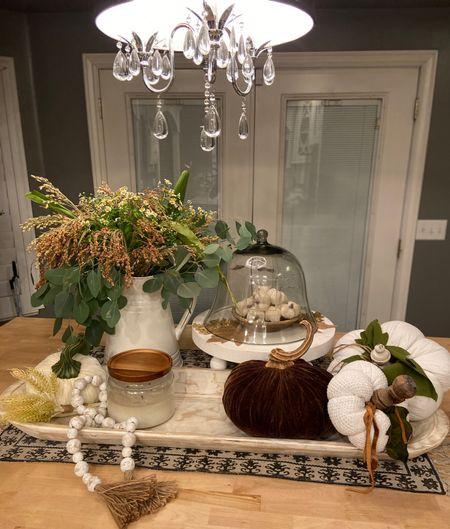 Fall decor🍁🍂🍁🍂🍁🍂 . Dough bowls, candles, pumpkins, beads, wooden risers🍁🍂 . Warm, cozy and Fall🍁🍂  #LTKhome #LTKSeasonal #LTKHoliday
