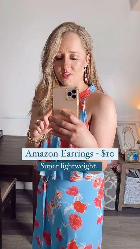 Wedding guest dress, Amazon jewelry, Amazon find, Amazon fashion, Amazon earrings, Amazon dress http://liketk.it/3dQo5 #liketkit @liketoknow.it    #LTKstyletip #LTKunder50 #LTKunder100