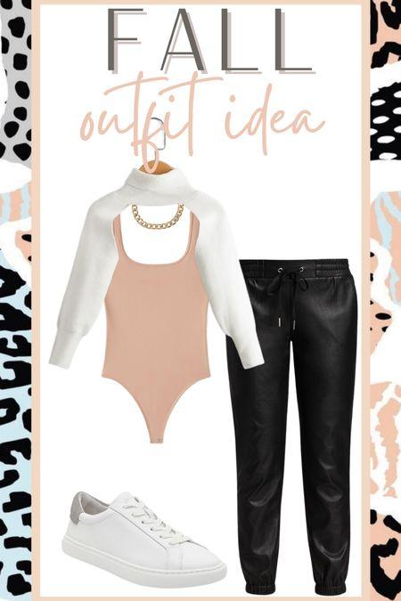 Fall outfit idea leather joggers  #LTKunder50 #LTKstyletip #LTKsalealert
