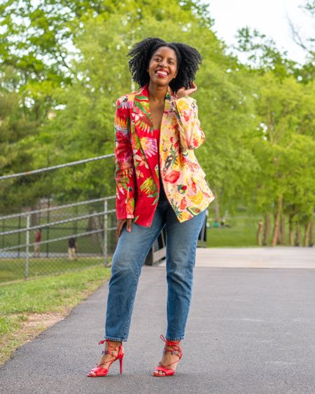 Bring the joy of the tropics to any sidewalk with a colorful Farmrio blazer , mom jeans and red strap it heels. #LTKstyletip #LTKunder100 #LTKunder50  http://liketk.it/3g0op #liketkit @liketoknow.it