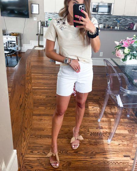 Embellished jewel top in xxs white longer cutoff shorts in 00 nude bow heels http://liketk.it/3hZKw #liketkit @liketoknow.it #LTKunder50 #LTKsalealert #LTKunder100