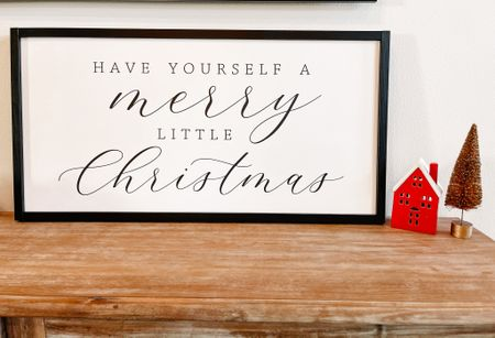 Merry little Christmas sign from Etsy. Christmas house and Christmas tree from target    #LTKHoliday #LTKSeasonal #LTKhome