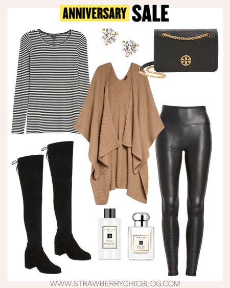 Faux leather leggings and over the knee black boots are great fall staples to build different outfits with.   #LTKstyletip #LTKSeasonal #LTKsalealert