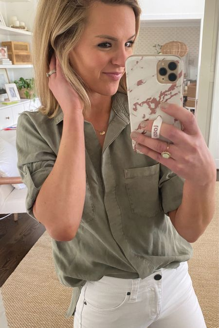 Love this dusty green top! It's so light and perfect for summer time! Also, white jeans and these perfect white birks! http://liketk.it/3dSM1 #liketkit @liketoknow.it #LTKstyletip #evereve #evereveambassador #whitejeans #birkenstocks #springoutfitinspo