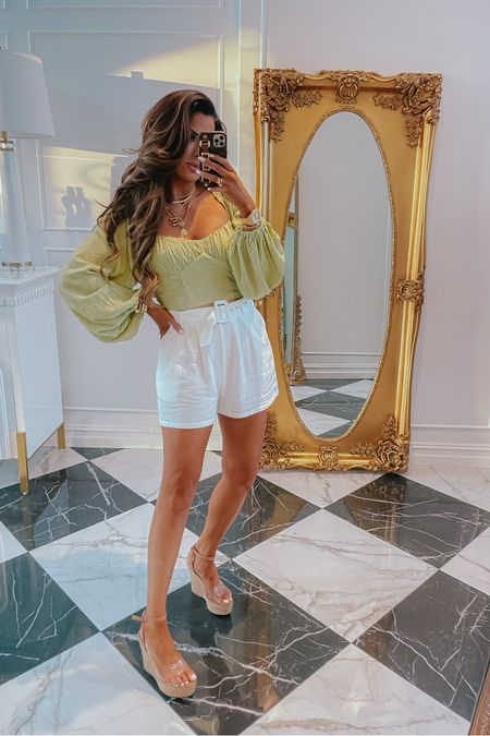 http://liketk.it/3hlm3 #liketkit @liketoknow.it #LTKDay Emily Ann Gemma, LTK day, LTK Sale, summer outfits, forever 21, shorts, top, wedges, forever 21: 25% off with code LYKxF21, styled collection, gold jewelry, Cartier dupes, Cartier ring dupe, Cartier braclet dupe, necklaces, styled collection: 30% off with code LTK30