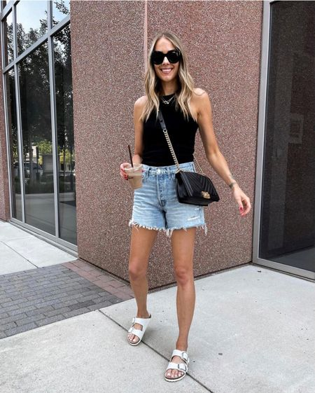 Summer essentials from Shopbop! Love this racer back tank (anine Bing size xs) and these long denim shorts (size up) and my white Birkenstock sandals #summeroutfit #agolde #casualoutfit  #LTKunder50 #LTKstyletip #LTKunder100