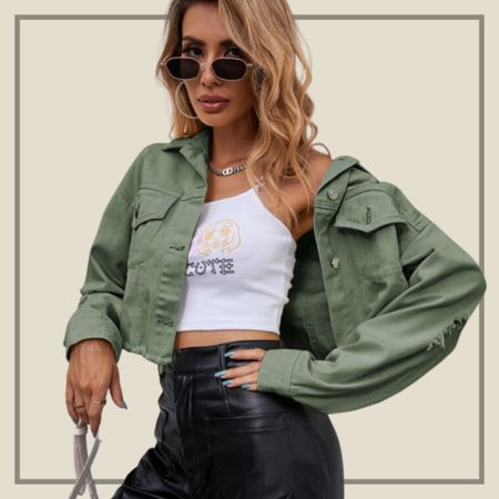 Raw hem detail denim jacket  #LTKunder100 #LTKstyletip #LTKunder50