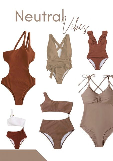 Affordable Swimming Suits  AmazonFinds NeutralStyle TaupeBathingsuit Brownswimmingsuit amazonsfinds Amazonswimmingsuit walmart walmartstyle Target Targetstyle Beachstyle Vacationstyle Resortstyle    #LTKswim #LTKsalealert #LTKunder50