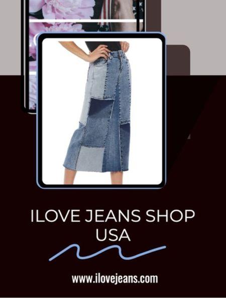 Denim skirts for summer.  Patchwork denim skirt, midi skirt, long denim skirt, gathered denim skirt,  maxi denim skirt.   Shop all denim at I Love Jeans Shop.    #LTKeurope #LTKstyletip