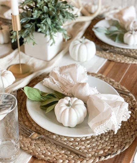 Simple neutral Thanksgiving tablescape. Neutral table decor inspo.   #LTKhome #LTKfamily