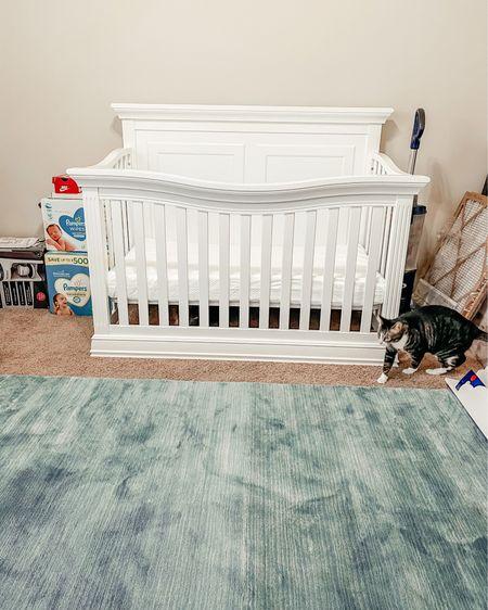 Baby crib | rug | nursery decor | crib mattress | nursery design | nursery rug | blue rug | baby boy nursery @liketoknow.it #liketkit http://liketk.it/3cyHx #LTKbaby